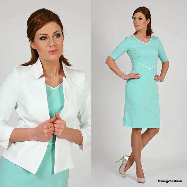 Sukienka Halina + żakiet Krystiana ecru #sukienka #kobieta #żakiet #ecru #kobietasukcesu #glamour #dress #mint #spring #collection