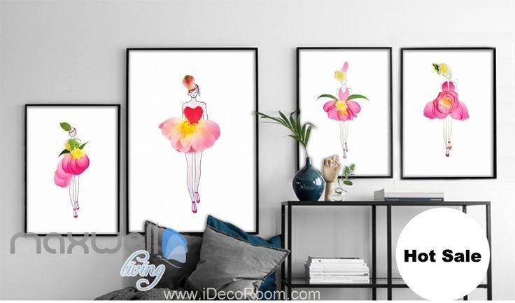 Pink Roses flower Girls Abbstract Canvas Prints Wall Decals Art Decor Unframed IDCCV-BO-000224