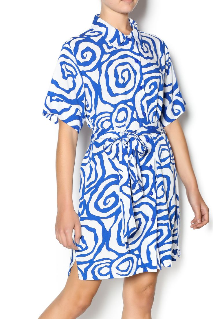 Easy to wear short sleeve button down dress with belt. Barcelona Shirt Dress by Misha Medicino Designs. Clothing - Dresses - Casual Clothing - Dresses - Printed Tampa, Florida