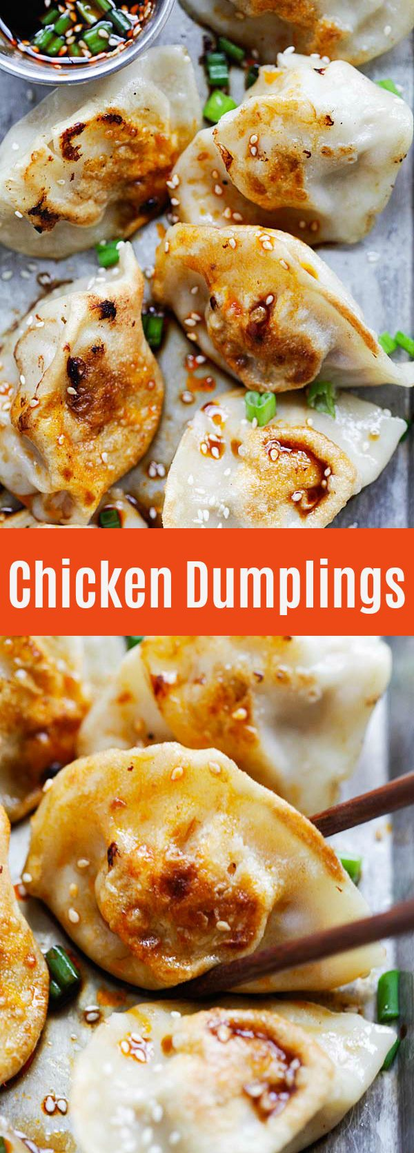 Chinese chicken dumplings with ground chicken and vegetables filling. Homemade dumplings are healthy and easy to make and perfect as a light meal or appetizer | rasamalaysia.com