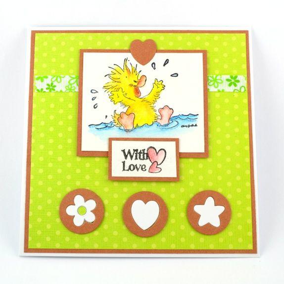 """Skjønt kort med lykkelig and. """"With love"""" Handmade card"""
