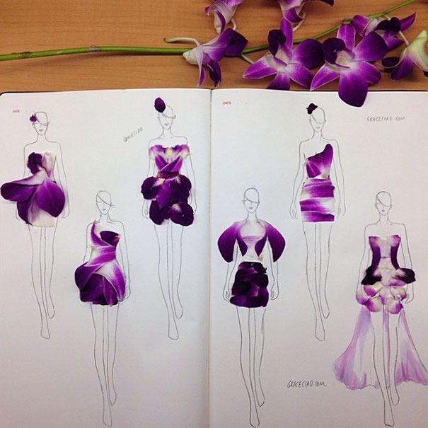 Fashion illustrator turns flower petals into gorgeous gowns (Orchid)