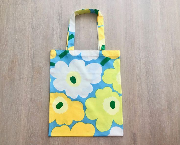 Marimekko Unikko fabric tote bag, Handmade Reusable Cotton Shopping Bag in yellow, green, blue and white