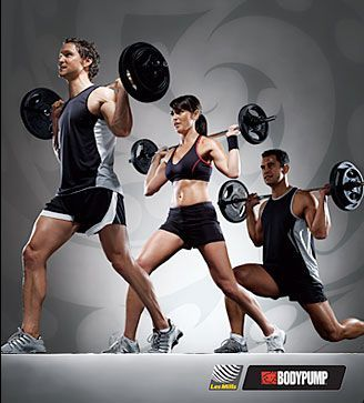 Les Mills BodyPump.  Using light to moderate weights with lots of repetition.  It will burn up to 590 calories. Instructors will coach you through the scientifically proven moves and techniques pumping out encouragement, motivation and great music – helping you achieve much more than on your own!