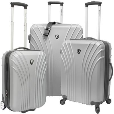 Traveler's Choice 3-Piece Hardside Ultra Lightweight Luggage Set (Includes 2 Carry-Ons) Silver Grey - via eBags.com!