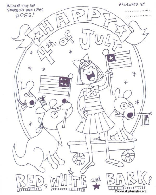 Free printable Fourth of July coloring page for dog lovers #print #fourthofjuly