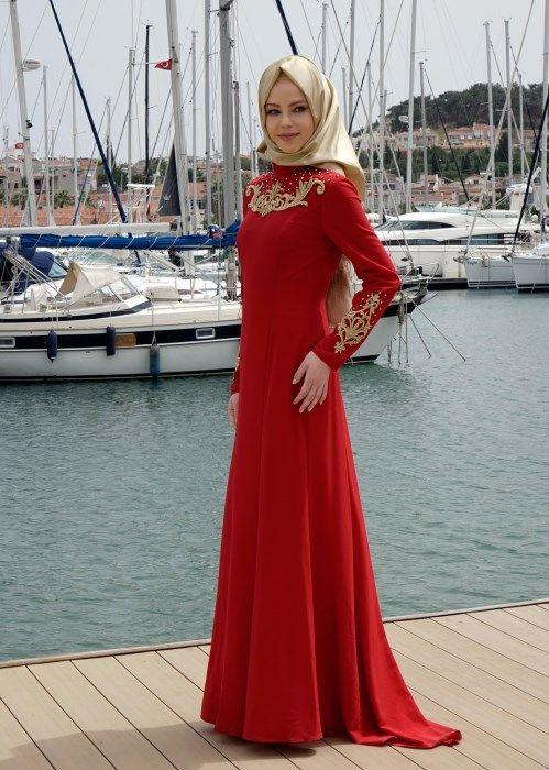 T 5057 Criss Abiye-Alv Fashion - KIRMIZI - Trend Tesettür