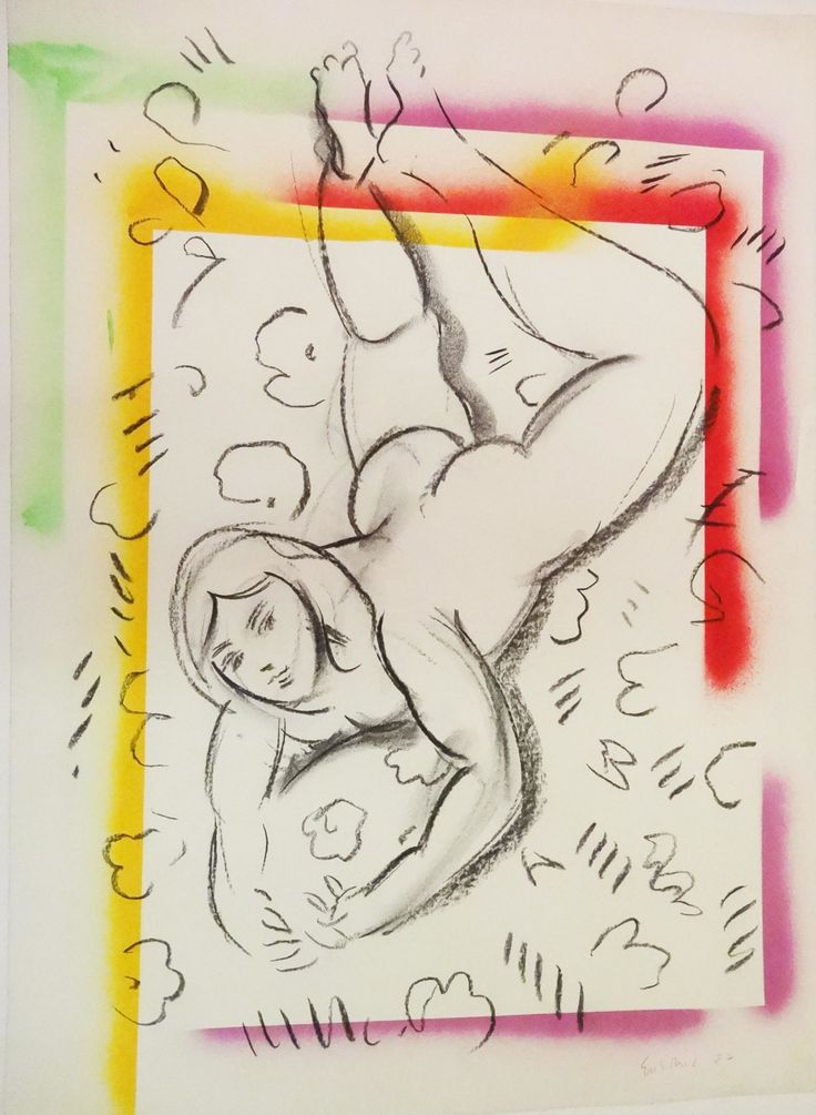 """Reclining Figure I, crayon with colored border on paper, 29"""" x 22"""", $2,200, http://transformgallery.com/wayne-ensrud/"""