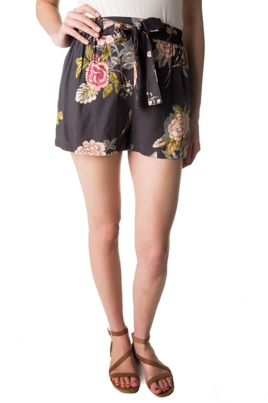 Floral Short with Tie Belt