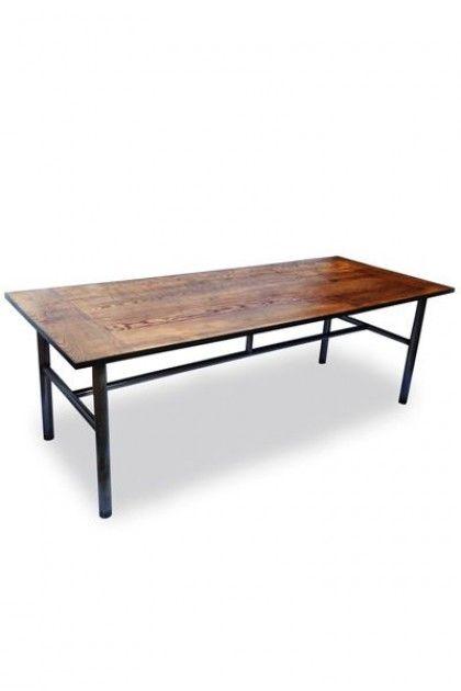 Vintage Ash Wood Steel Table By Ines Cole
