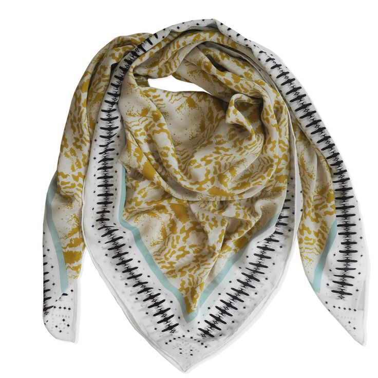 ABSTRACT TRIBAL SCARF - MOSS & SAND