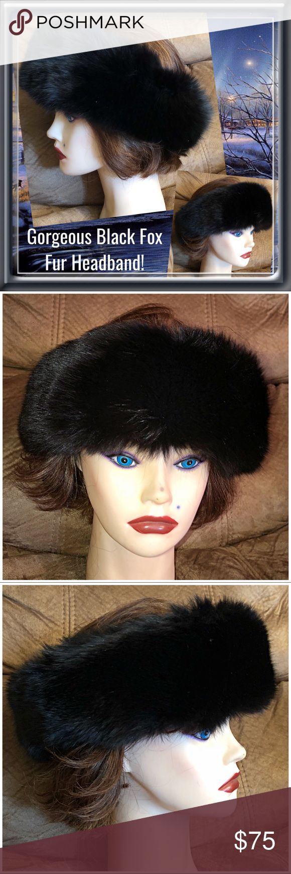 "Vintage Fine Black Fox Genuine Fur Headband! Gorgeous Vintage Black Fox Fur Headband! Fabulous headband made of natural & genuine Fox fur. The fur has beautiful rich, dark brown highlights & black tips. The band measures 3"" wide with an adjustable Velcro closure & back lined with black velvet! Can also be used as a neck scarf as well! VG condition. Offers welcome! Vintage Accessories Hair Accessories"
