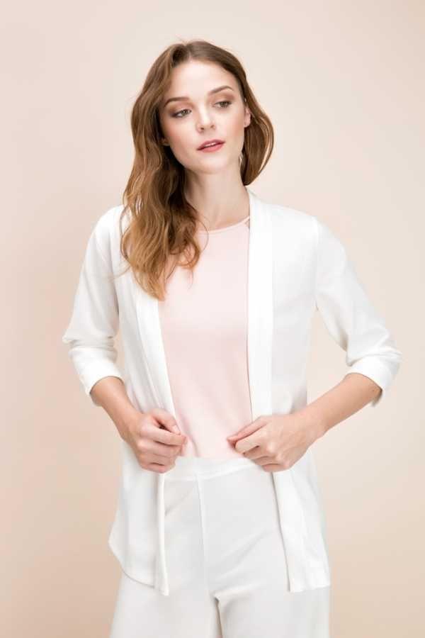 Beyaz Basic Ceket cotenconcept.com 👈Hemen Al