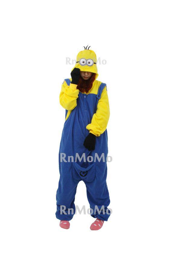 KIGURUMI Cosplay Romper Charactor animal Hooded Nightclothes Pajamas Pyjamas Costume sloth Onesie outfit Sleepwear-Minion on Etsy, $49.99