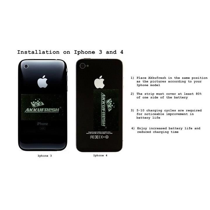 iPhone3GS and iPhone4S powered by AkkuFresh® Next Generation™  (outside installation) #akkufresh #battery #foil #apple #iphone3gs #iphone4s