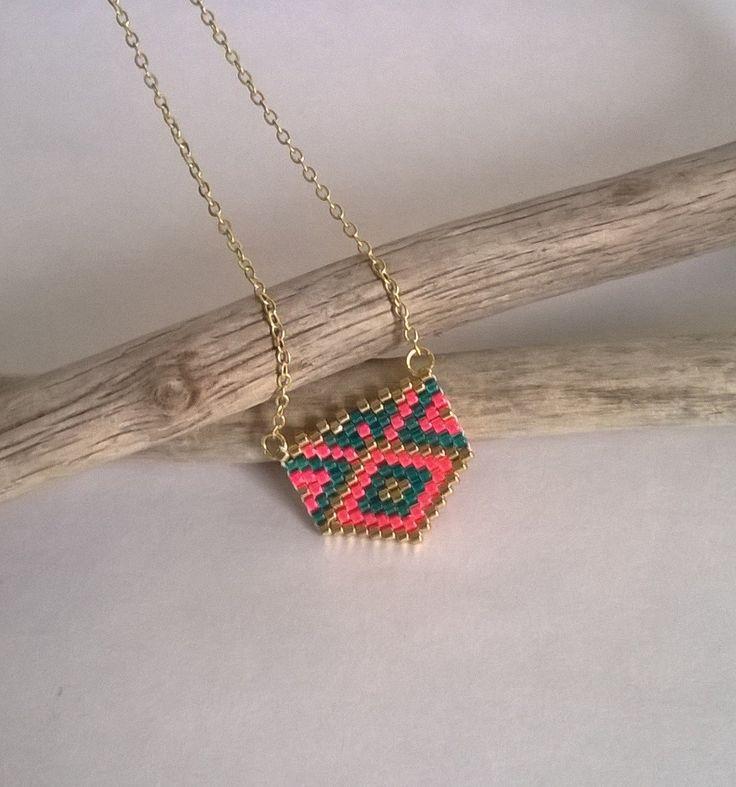 Sautoir, bijou tissé, perles miyuki, motif géométrique, or, corail, bleu-vert, chaîne de la boutique izbulle sur Etsy