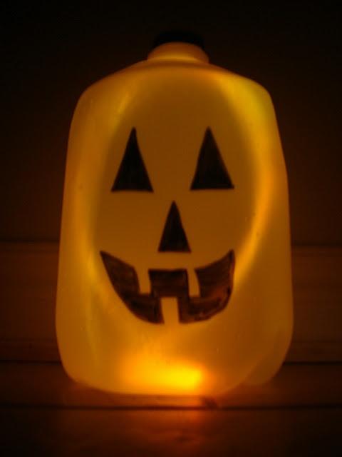 Milk Carton Halloween Crafts Part - 18: Jack-o-lantern Made Out Of A Milk Carton. Less Mess