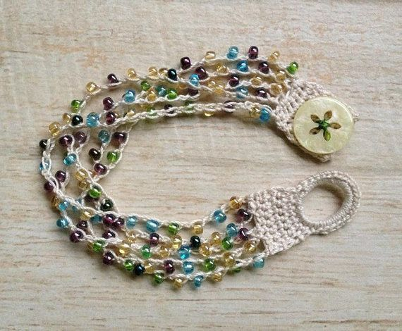 Crochet Beaded Bracelet Off White with Green by BeachDaisyJewelry