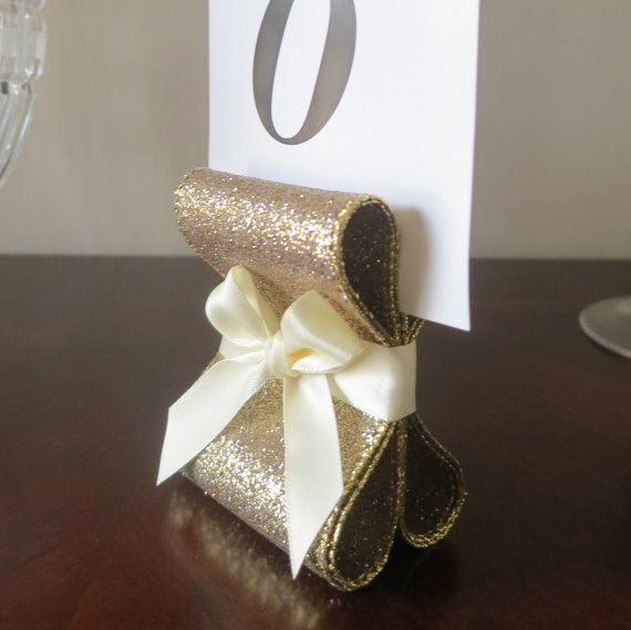 Table Number Holders - Wedding Decor - Ten (10) with Golden Glitter & Ivory Satin Ribbon - Customize Your Colors on Etsy, $40.00