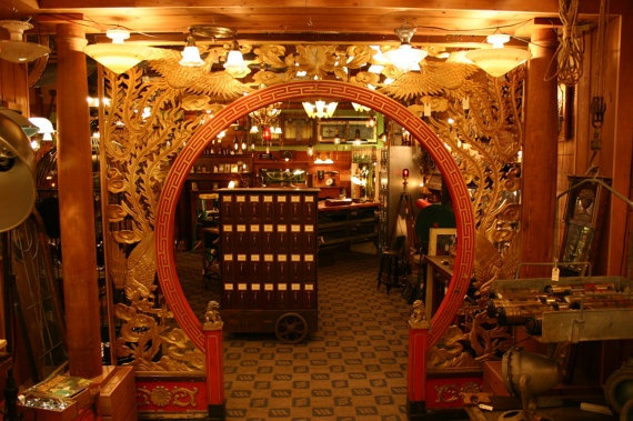 Chinese Restaurant Interior Entryway Arch Vintage Mid