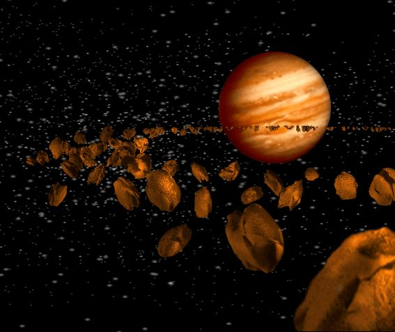 The asteroid belt in our solar system located between Mars and Jupiter.