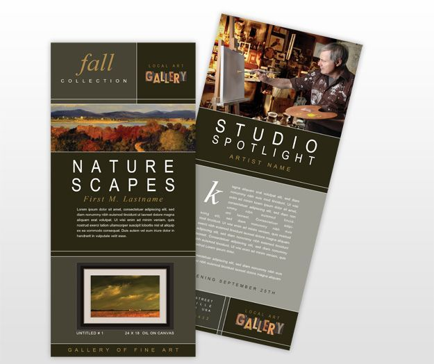 Art Gallery Rack Card Template Jpg 625 524 Pixels Rack Card Templates Rack Cards Design Rack Card In 2021 Rack Card Templates Rack Cards Design Rack Card