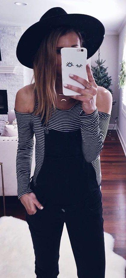 #winter #fashion /  Black Hat + Striped Off Shoulder Tee + Black Jumper