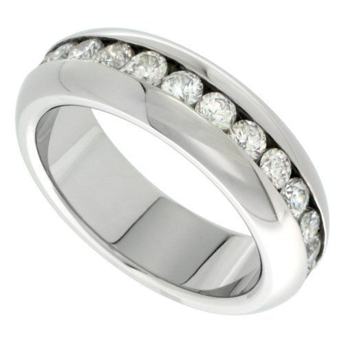 surgical steel 7mm domed eternity wedding band ring 3mm cz