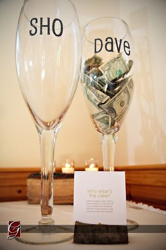 """Who Wears the Cake"" ...whoever has more money in the cup gets it in the face (good way to get extra cash for the honeymoon!) Very cute idea!"