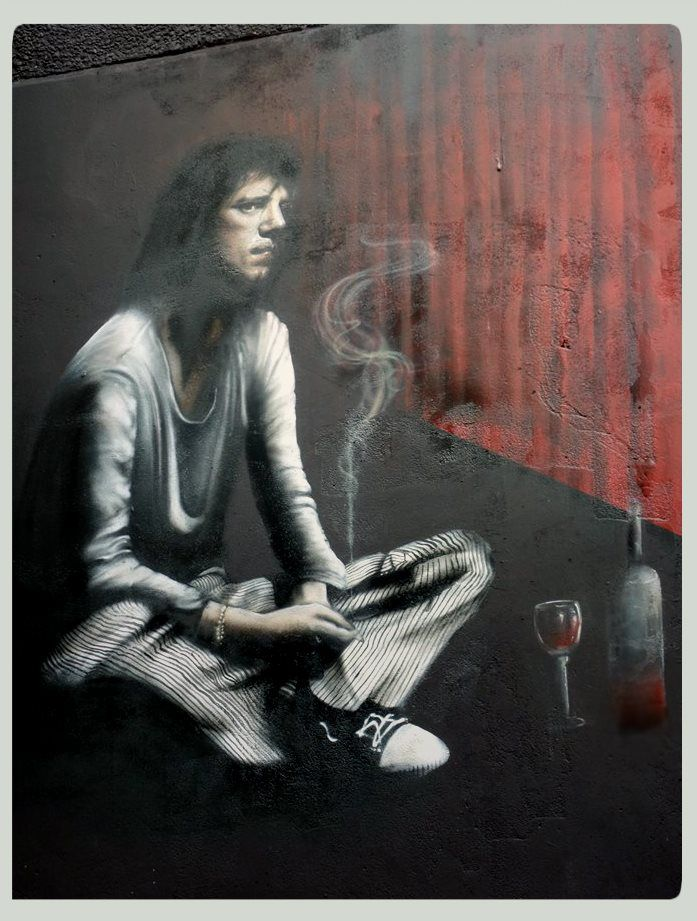 """Muurschildering in honour of/ ter ere van Ramses shaffy. Gemaakt door Lj vanT ( LjvanTuinen ) in Leeuwarden. """"Zoals altijd ben ik heel gelukkig treurig en treurig heel gelukkig"""". 2014 Close up, portret"""