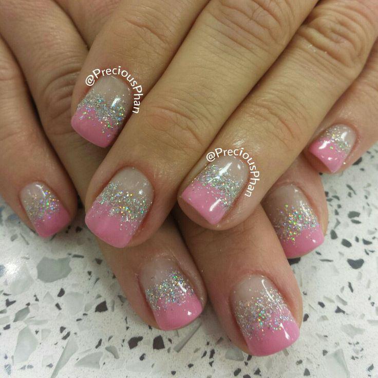 Pink, glitter, Valentines nails