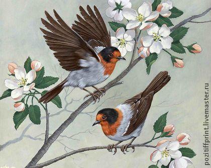 """Вышивка ручной работы. Ярмарка Мастеров - ручная работа Принт """"Птицы на ветке"""" Артикул П078. Handmade."""