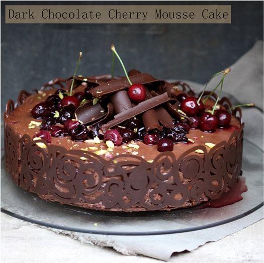 Dark Chocolate Cherry Mousse Cake from @Deeba RajpalDesserts, Chocolates Mousse Cake, Cake Recipe, Chocolates Cake, Cherries Mousse, Food, Dark Chocolates, Baking, Chocolates Cherries