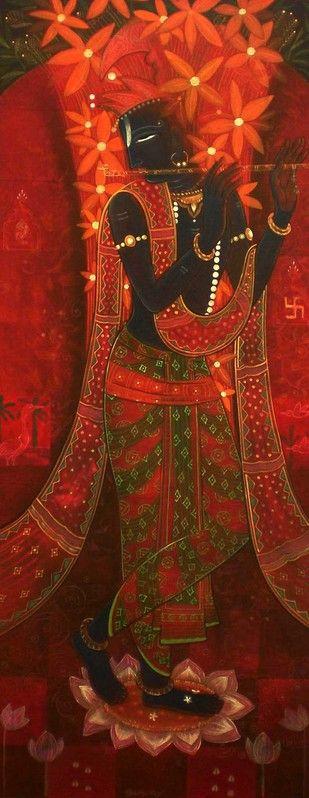 Basant Bahar 3 - Painting by Atin Mitra