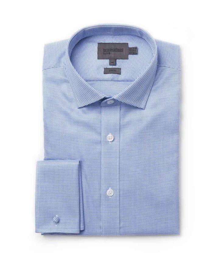 Brooksfield Online Shop: houndstooth shirt - bfc974 blue