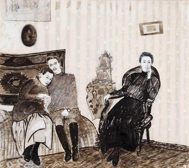 Петр Митурич – Семейный портрет, 1910-е гг. Бумага, графитный карандаш, сепия, тушь, белила; 35.3x37.2 | ГТГ