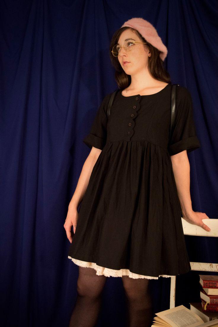 Alice Dress / Black Babydoll Dress / Smock dress / Scallop buttons / lolita smock dress 90s grunge dress / oversize dress /witch summer goth by CatalogueDuneNymphe on Etsy https://www.etsy.com/uk/listing/249489010/alice-dress-black-babydoll-dress-smock