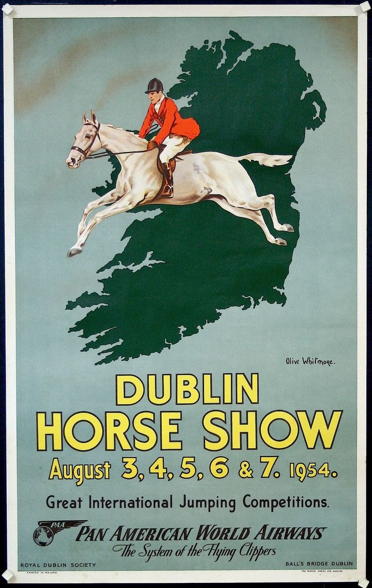 RARE DUBLIN HORSE POSTER:  GREAT INTERNATIONAL JUMPING COMPETITIONS circa 1954