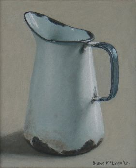 Diane McLean White jug with blue handle (2012), oil on board, 224 x 183 mm.