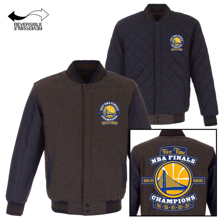 Golden State Warriors JH Design 2017 NBA Champions Reversible Wool & Leather Jacket - Charcoal/Navy