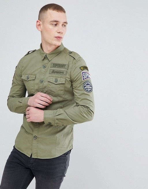 4c4df73dee Superdry shirt in khaki with badges in 2019