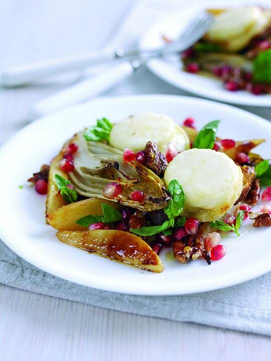 Grilled Pear, Endive and Crottin de Chavignol toasts with Caramelised Walnuts....