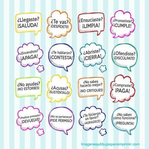Frase de buenos modales para niños-Imagenes y dibujos para imprimir