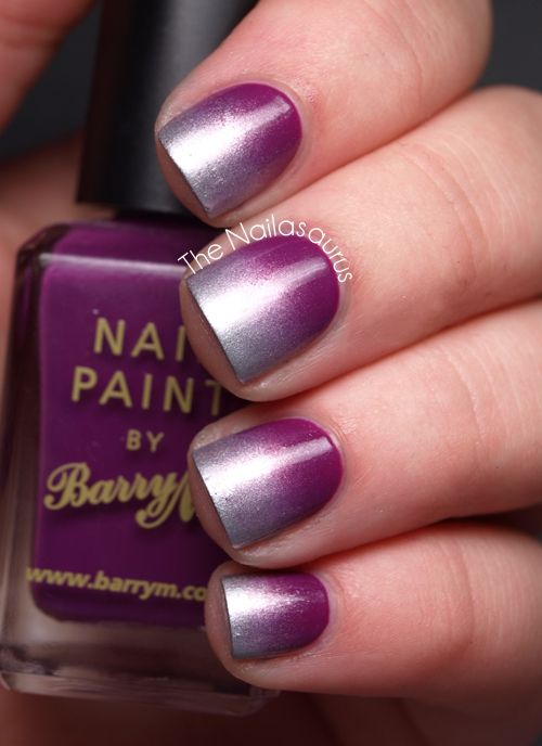 Barry M Bright Purple as a base and Barry M Silver Foil for the gradient