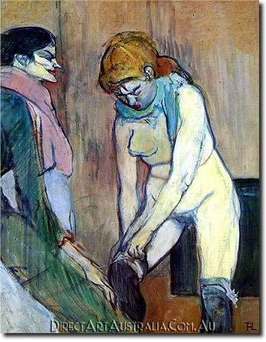 Henri de Toulouse-Lautrec | Woman Pulling up Her Stocking - Direct Art Australia,  Price: $199.00,  Availability: Delivery 10 - 14 days,  Shipping: Free Shipping,  Minimum Size: 50 x 60 cm,  Maximum Size : 100 x 150 cm,  100% Hand Painted Oil Paintings on Canvas!  www.directartaustralia.com.au/