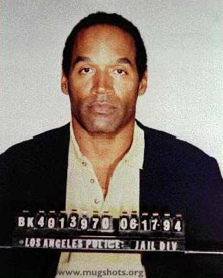 Police mugshot of O.J. Simpson after the murder, taken 17 June 1994.
