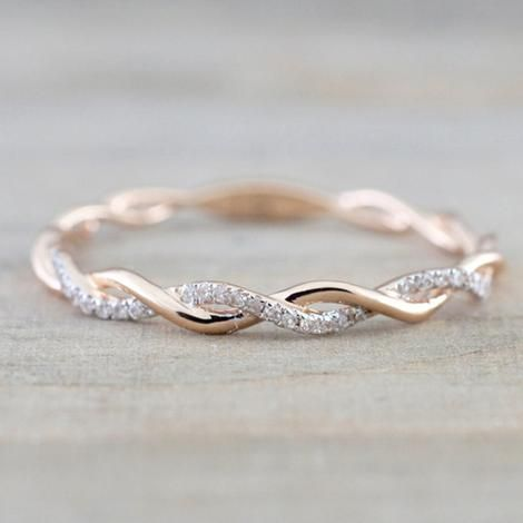 Rose Gold Color Twist Ring