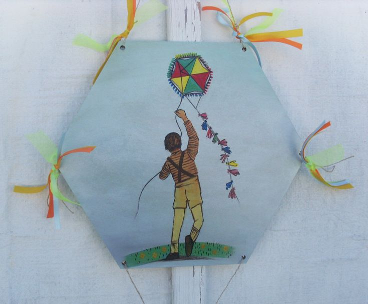Kid Flying Kite - Home Decor - Wall Hanging by allabouthandicraft on Etsy