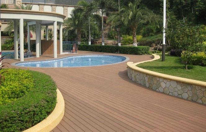 Sendero puente maderplast con p rgola para piscina for Pergolas para piscinas