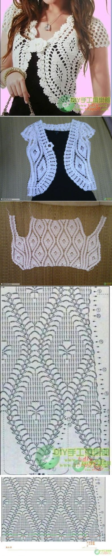Mejores 296 imágenes de blusas en crochet en Pinterest   Costura ...